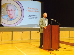 February 10, 2015 - Gary Switzer, CEO, ESC LHIN, presents the CPP to a group of residents in Kingsville.