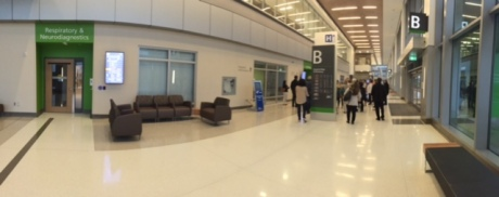 THE CONCOURSE: The hospital is designed like an airport with several entrances located along a concourse.  Outpatients will be told which door to enter when they arrive.  From that door, they will never be more than 30 feet from the clinic or department they are looking for.