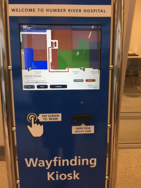 WAY FINDING KIOSK: Those who require more detailed directions can find them on one of the Multi-language kiosks.  They will tell you where your appointment is, show you on a map, and allow you to download the directions to your smart phone so you can take them with you.